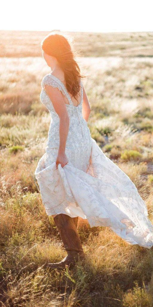 country wedding dresses with boots caps sleeves open back heavily embroidered thebigandbright