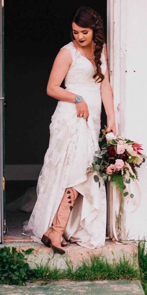 country wedding dresses with boots sheath lace v neckline sleeveless benhessphotography