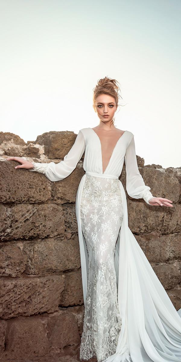 deep v neckline sheath wedding dresses with long sleeves dany mizrachi