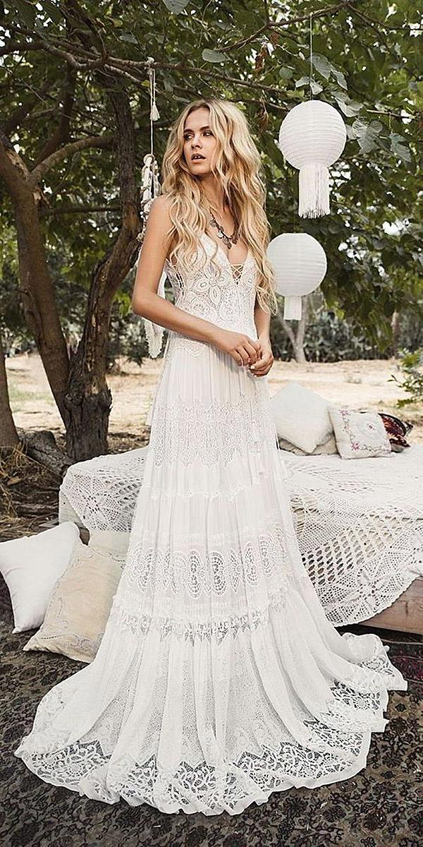 destination wedding dresses sheath deep v neckline lace romantic inbal raviv