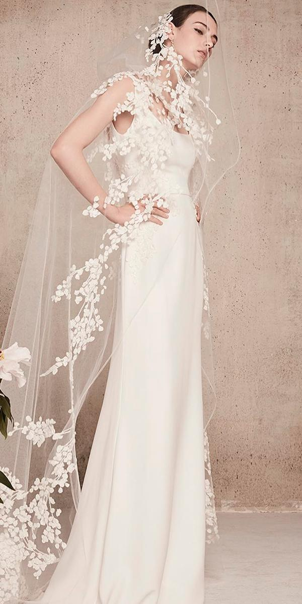 elegant scoop neckline with straps straight sheath wedding dresses elie saab