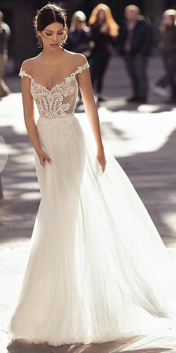embroidered lace top a line with off shoulder straps gali karten wedding dresses