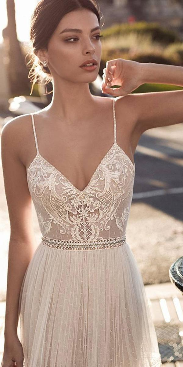 embroidered lace top a line with spaghetti straps gali karten wedding dresses