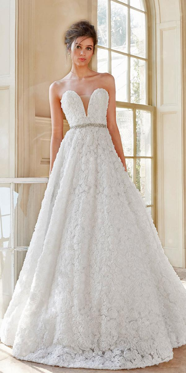floral ball gown strapless sweetheart with illusion tara keely wedding dresses