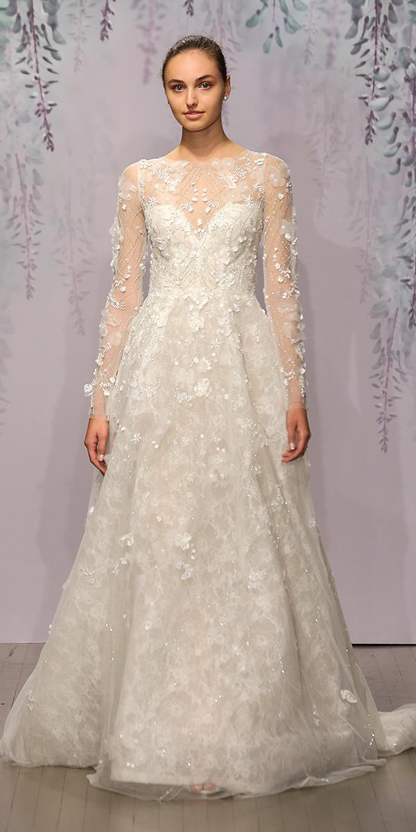 floral lace a line with long sleeves and bateau neckline monique lhuillier wedding dresses