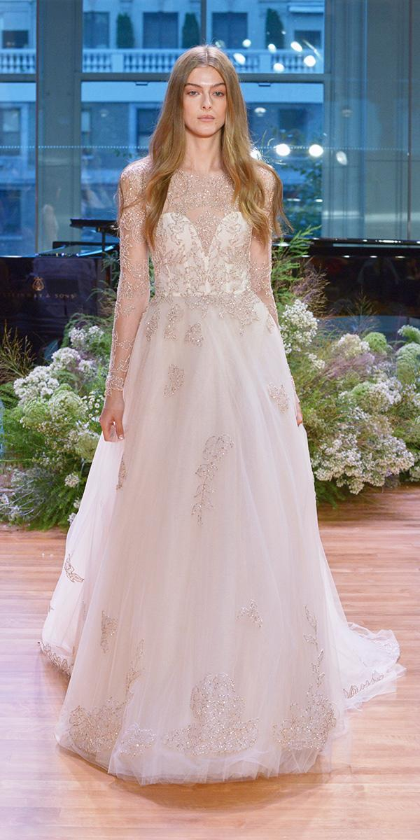 gold embroidered tulle ball gown with illusio long sleeves wedding dresses 2017 monique lhuillier