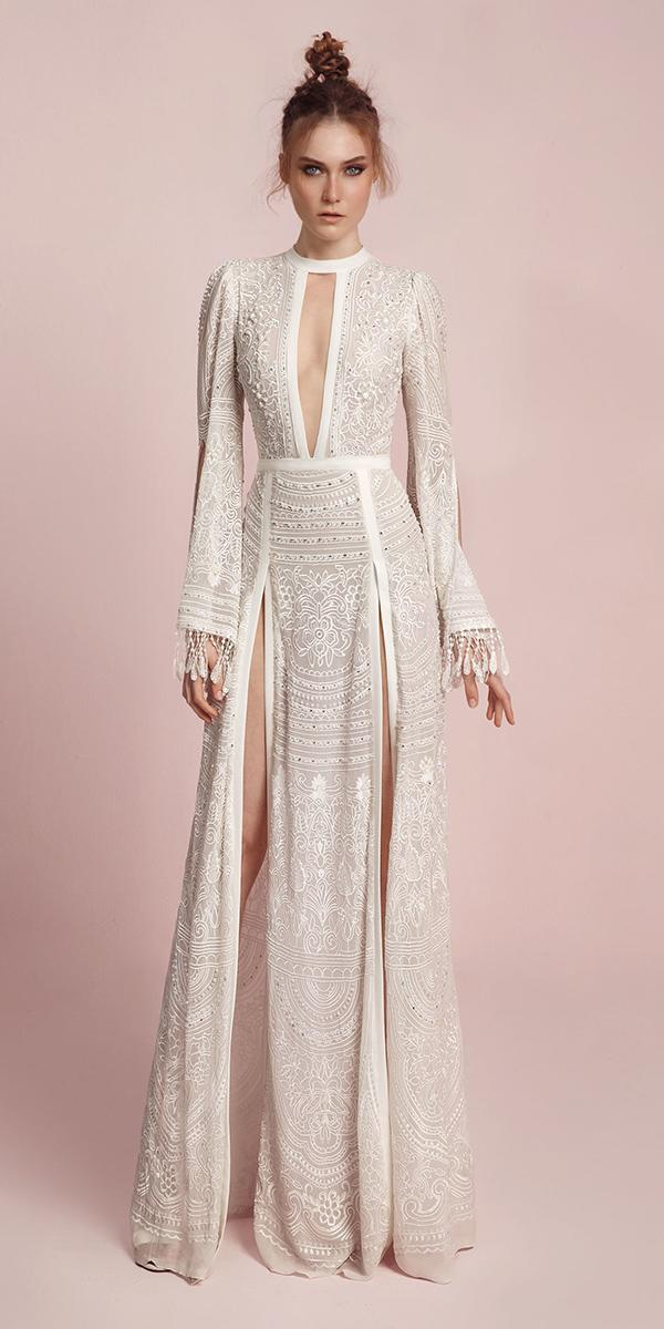 high neckline with long sleeves and slits and keyhole lior charchy wedding dresses