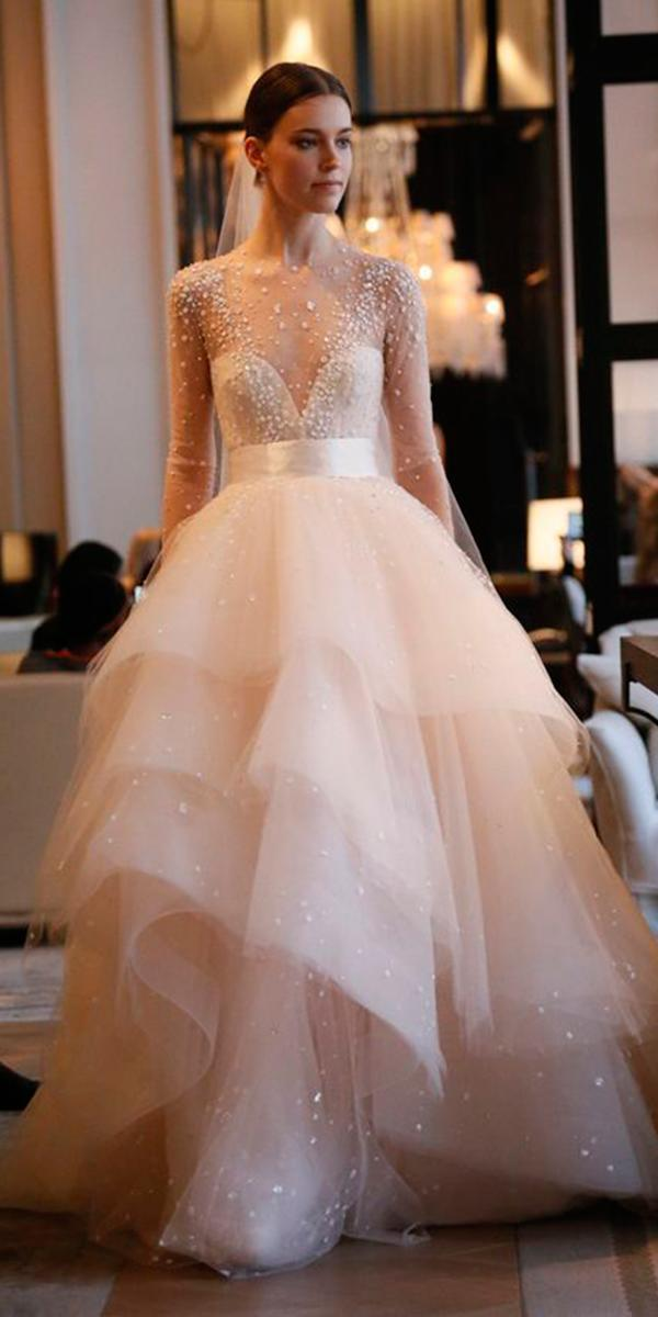 illusion sweetheart ruffle ball gown with long sleeves monique lhuillier wedding dresses