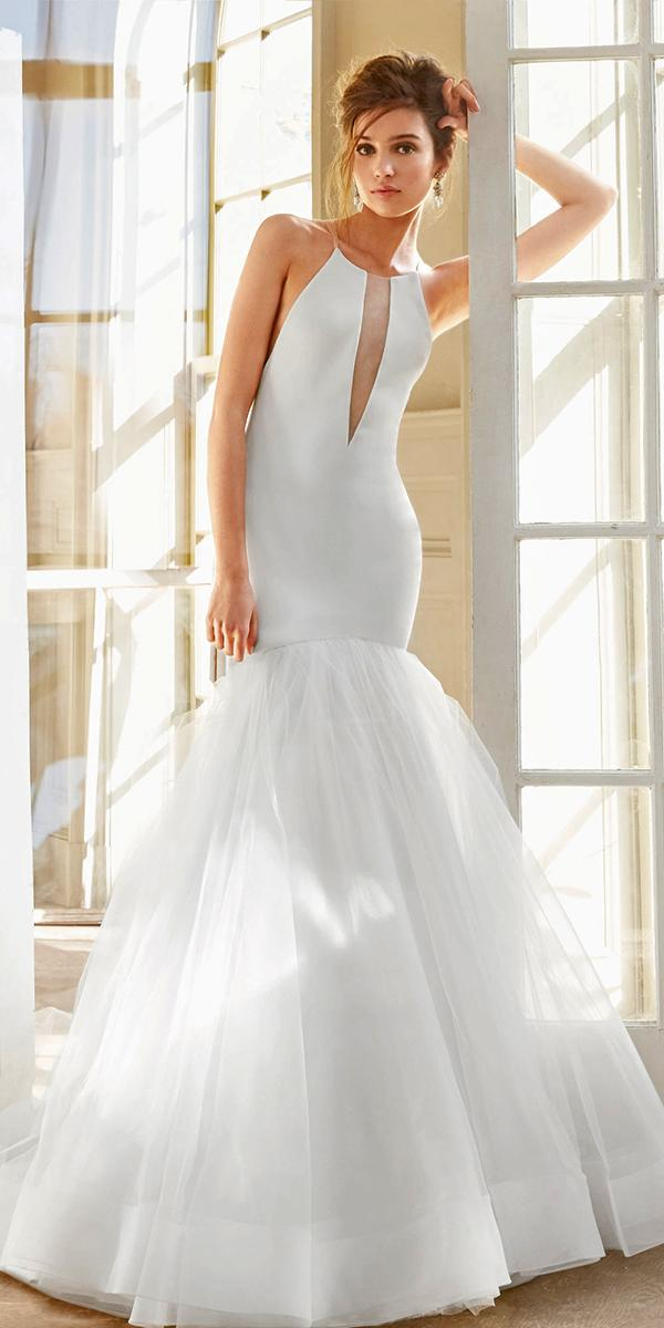 ivory mermaid halter neckline with train tara keely wedding dresses
