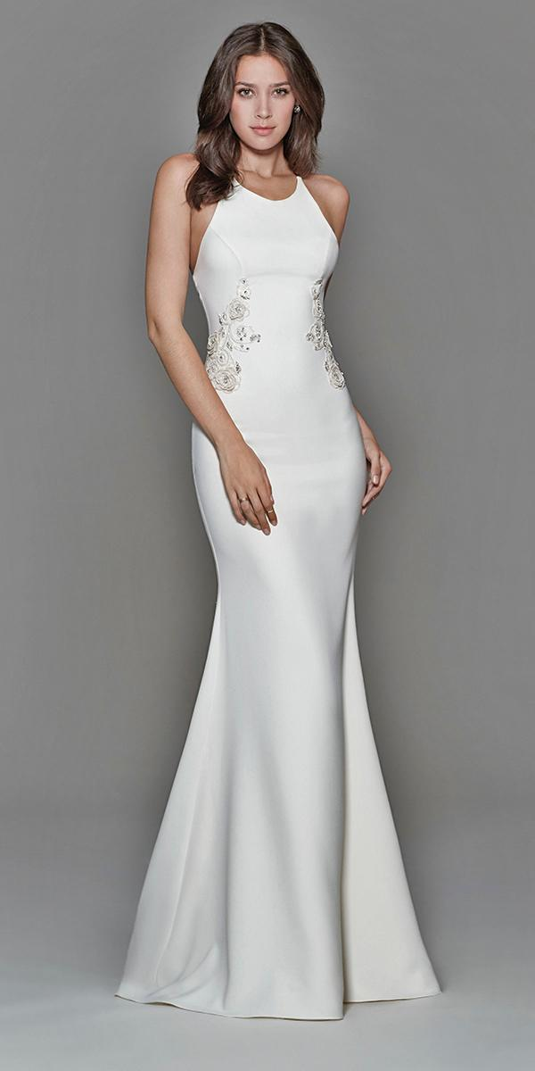 ivory sheath with jewel neckline and train tara keely wedding dresses