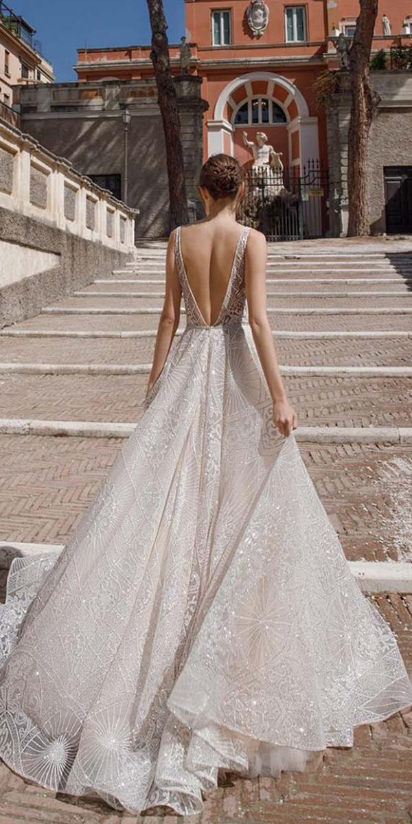 ivory wedding dresses a line v back lace birenz weig