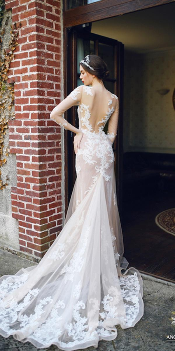 ivory wedding dresses illusion with long sleeves beach sexy back ange etoiles
