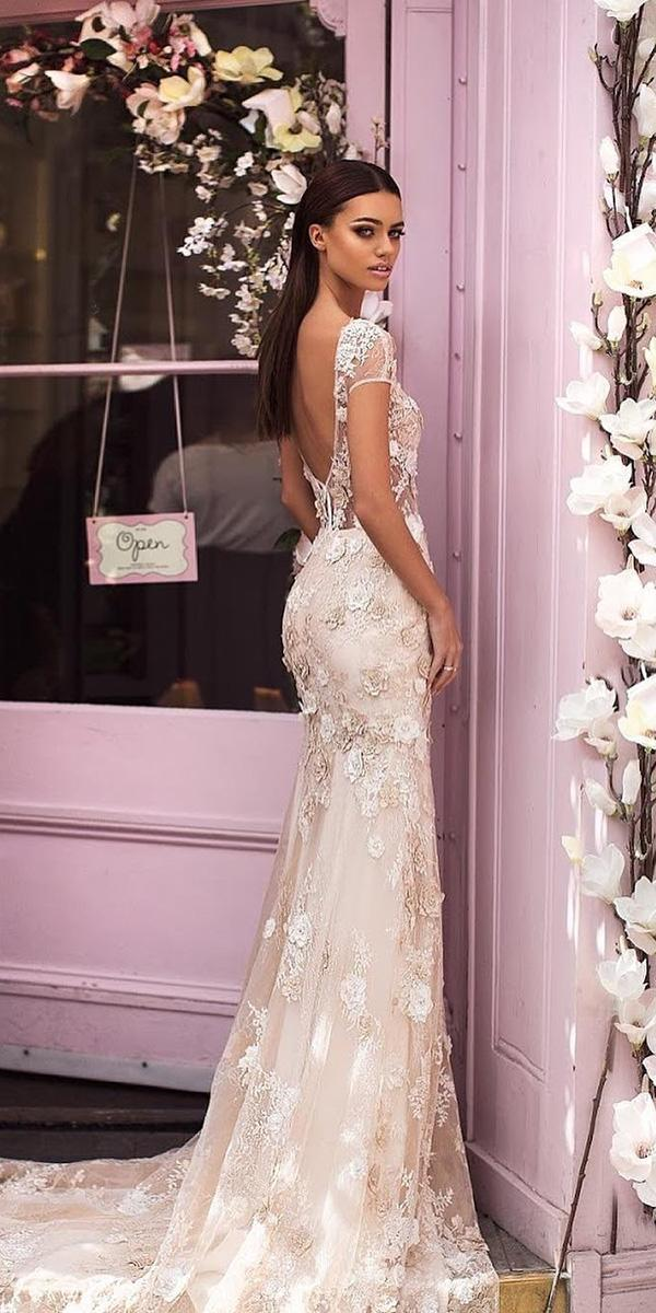 ivory wedding dresses low back with cap sleeves floral embellishment milla nova