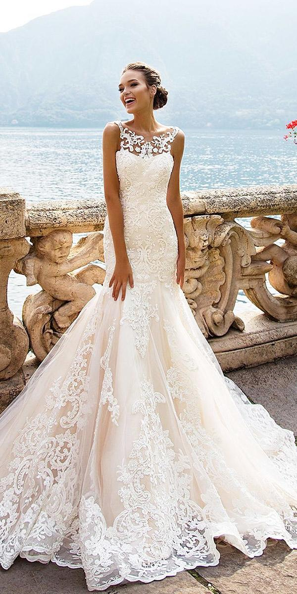 ivory wedding dresses mermaid floral embellishment lace milla nova
