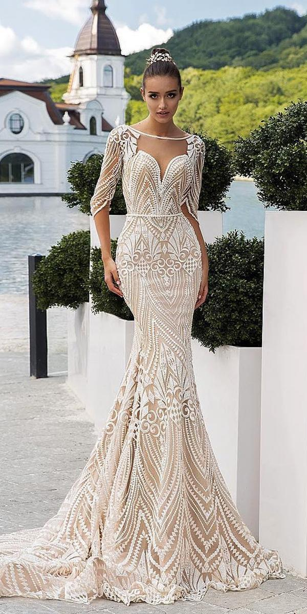 ivory wedding dresses mermaid sweetheart unique lace crystal design