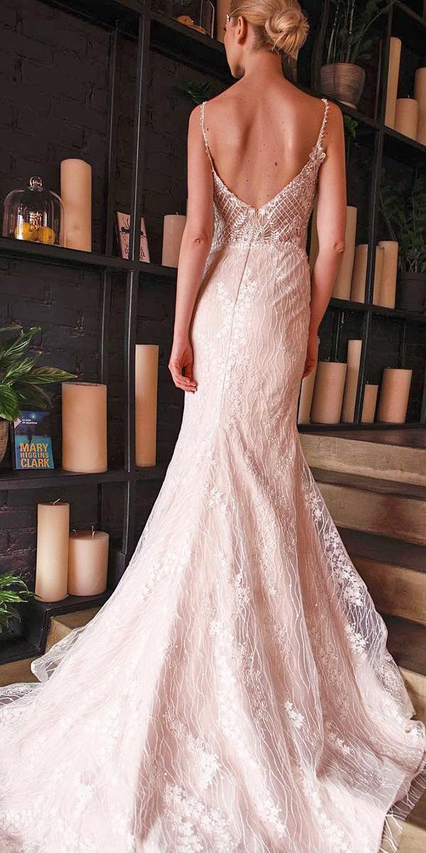 ivory wedding dresses with spaghetti straps lace low back armonia