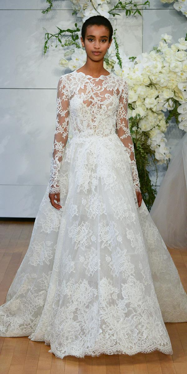 lace a line with long sleeves and bateau neckline monique lhuillier wedding dresses