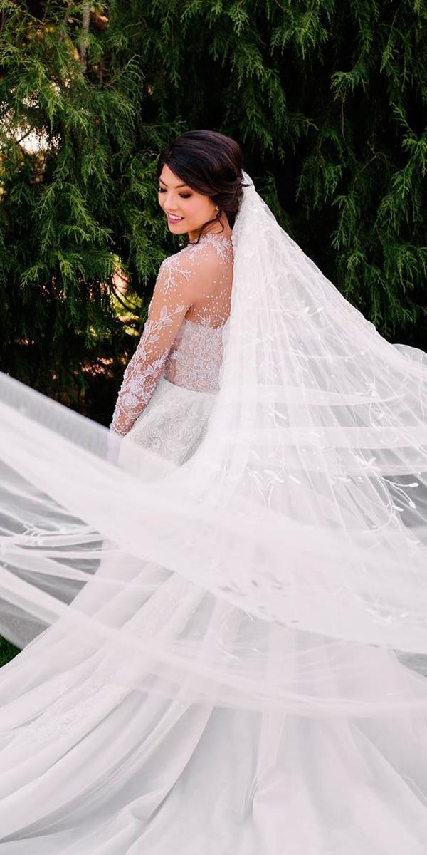 lace a line with long tattoo effect sleeves and train paolo sebastian wedding dresses