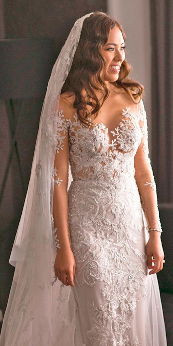 lace a line with off shoulder long tattoo effect sleeves paolo sebastian wedding dresses