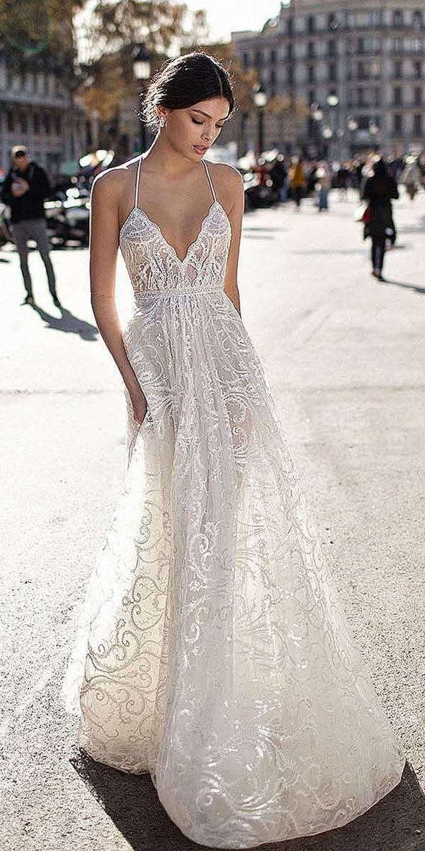 lace a line with spaghetti straps gali karten wedding dresses