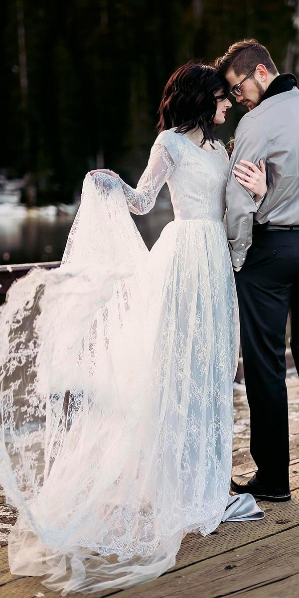 lace blue sheath with long sleeves and train elizabeth cooper wedding dresses