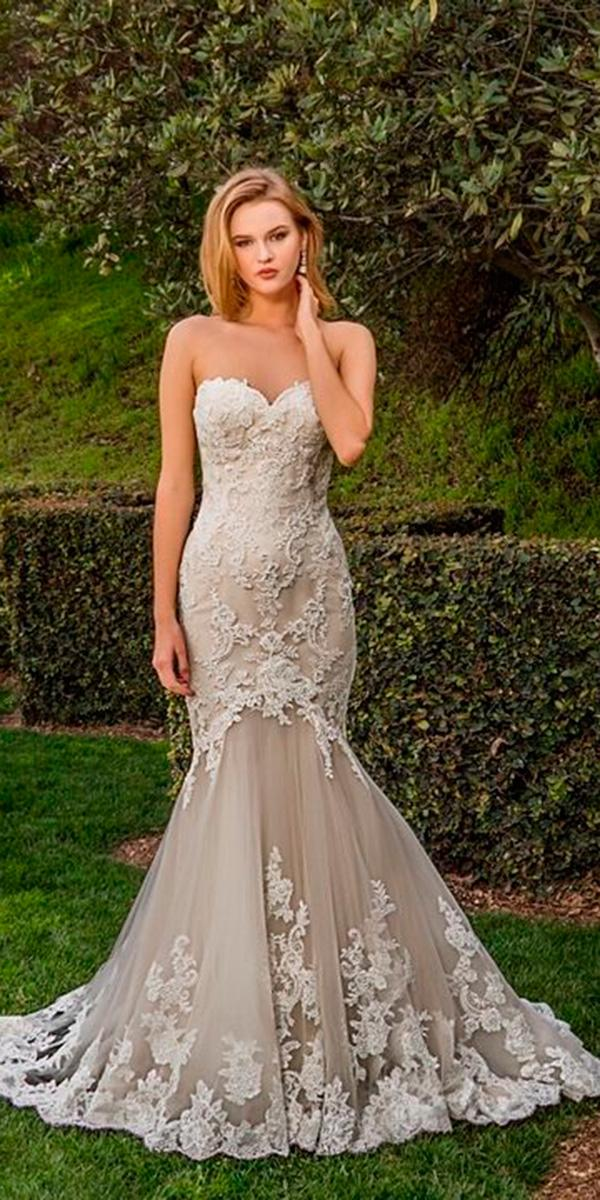 lace blush trumpet with strapless sweetheart and train enzoani wedding dresses