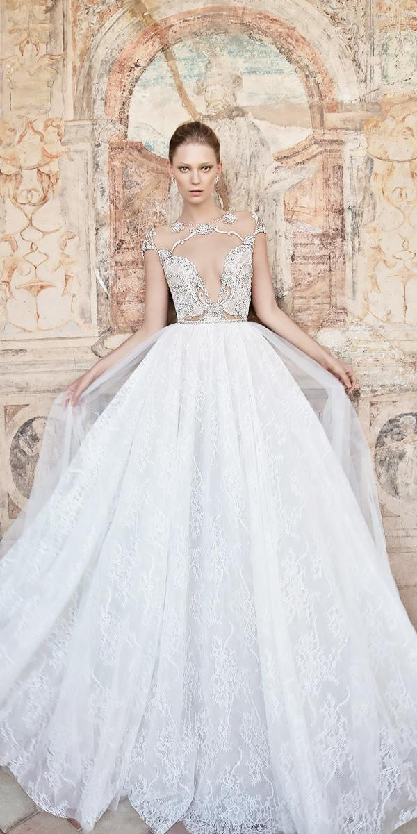 lace cap sleeved open neck ball gowns wedding dresses alon livne