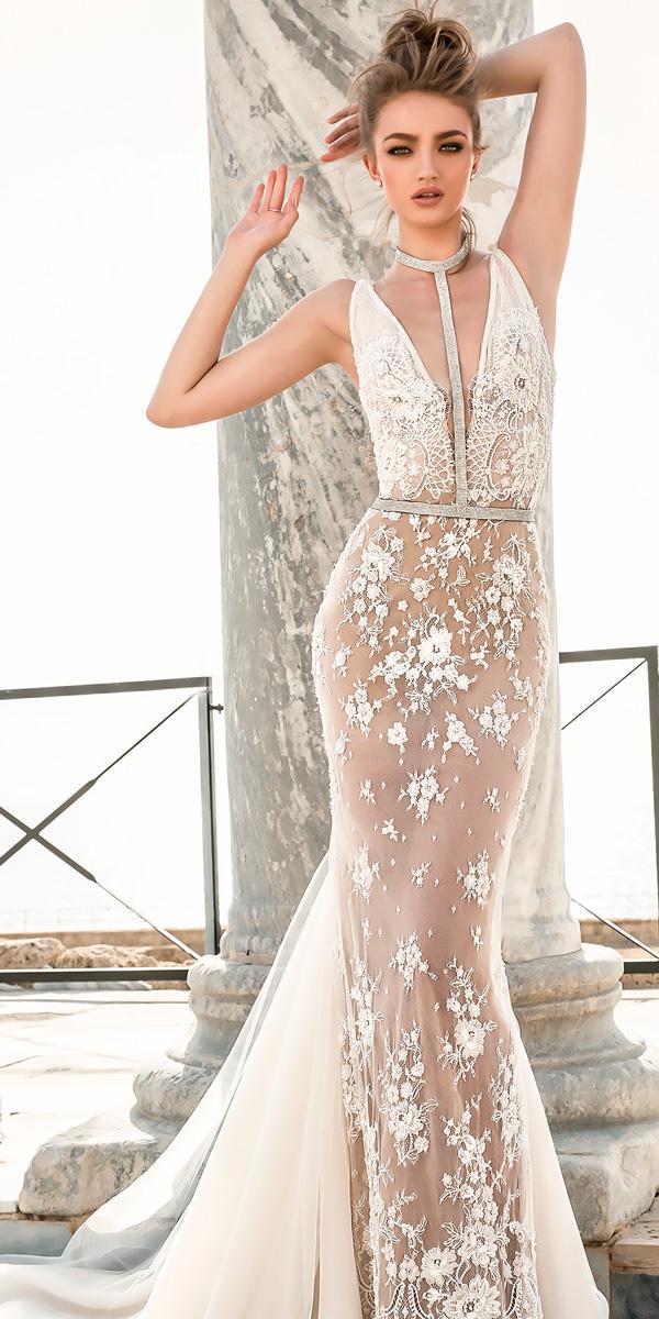 lace deep v neckline sheath wedding dresses danyо mizrachi