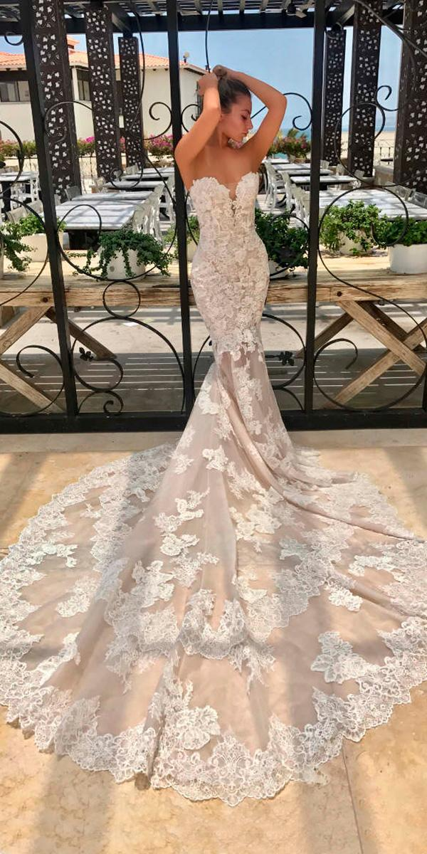 lace mermaid with sweetheart neckline and train enzoani wedding dresses