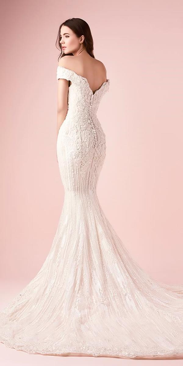 lace mermaid with train off the shoulder wedding dresses saiid kobeisy