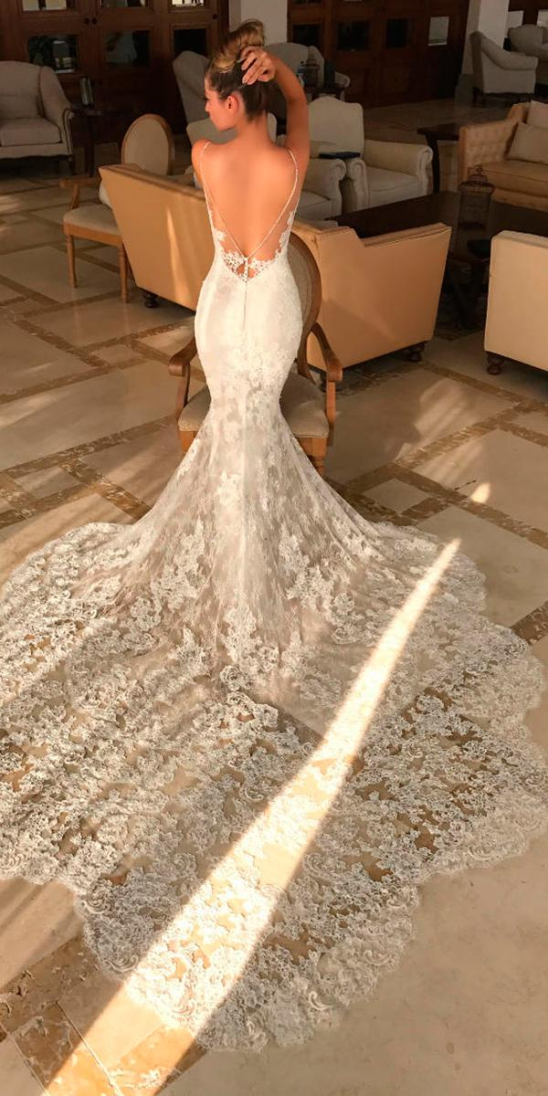 lace mermaid with v open back and train enzoani wedding dresses