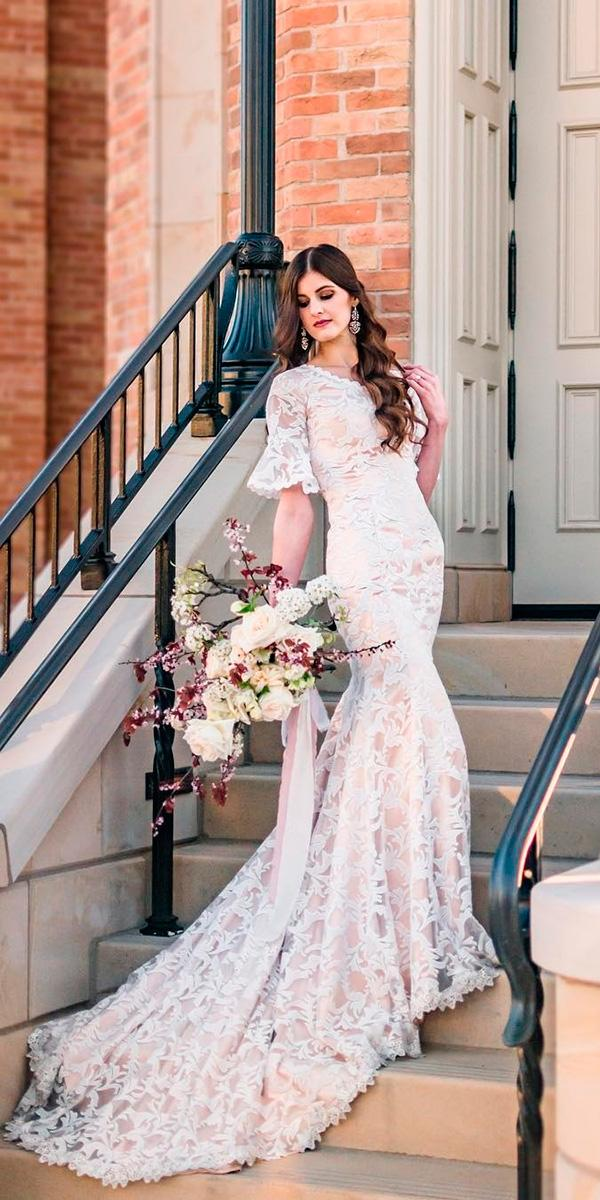 lace nude with bell sleeves and train elizabeth cooper wedding dresses