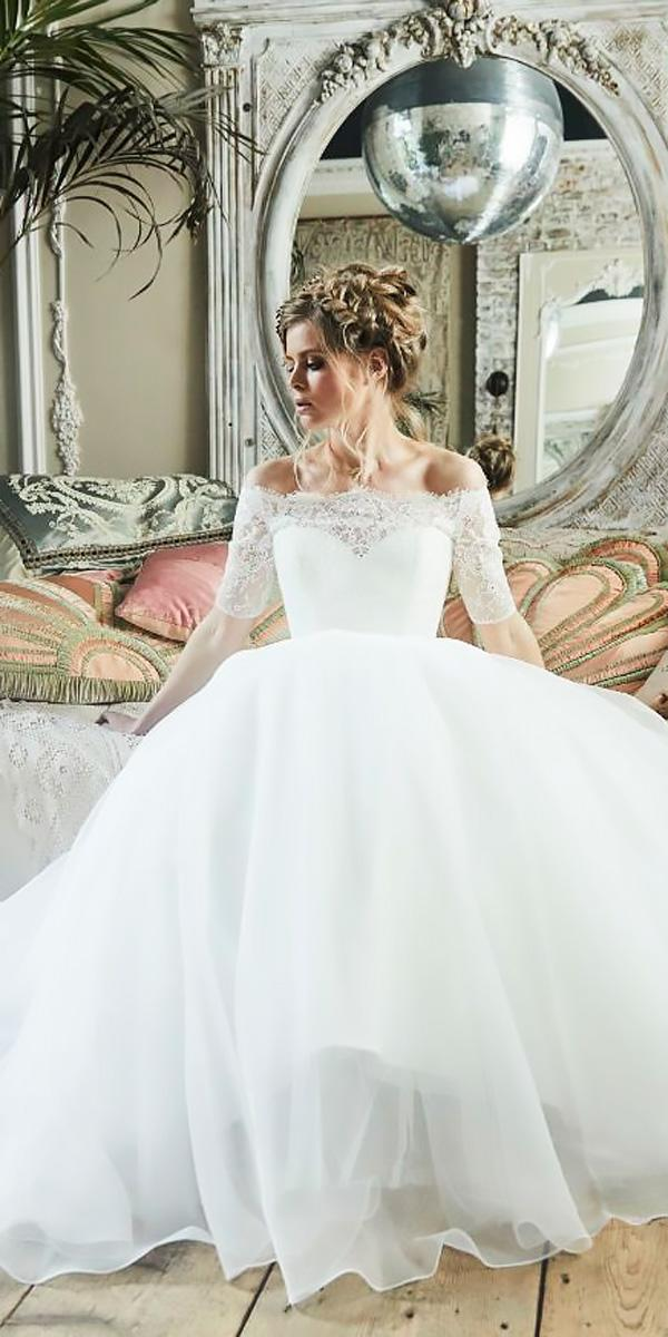 lace off the shoulder with sleeves ball gowns wedding dresses charlotte balbier