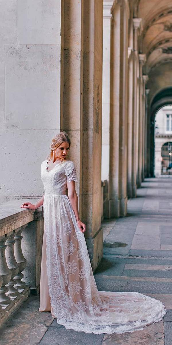 lace peach sheath with short sleeves and train elizabeth cooper wedding dresses