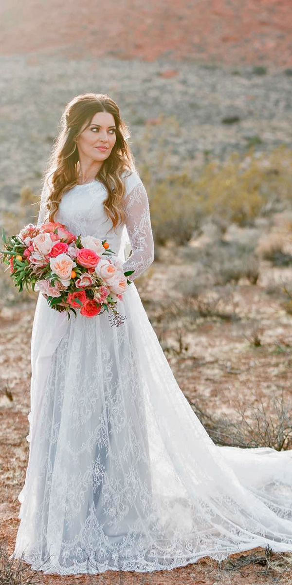 lace sheath with jewel neckline and long sleeves and train elizabeth cooper wedding dresses