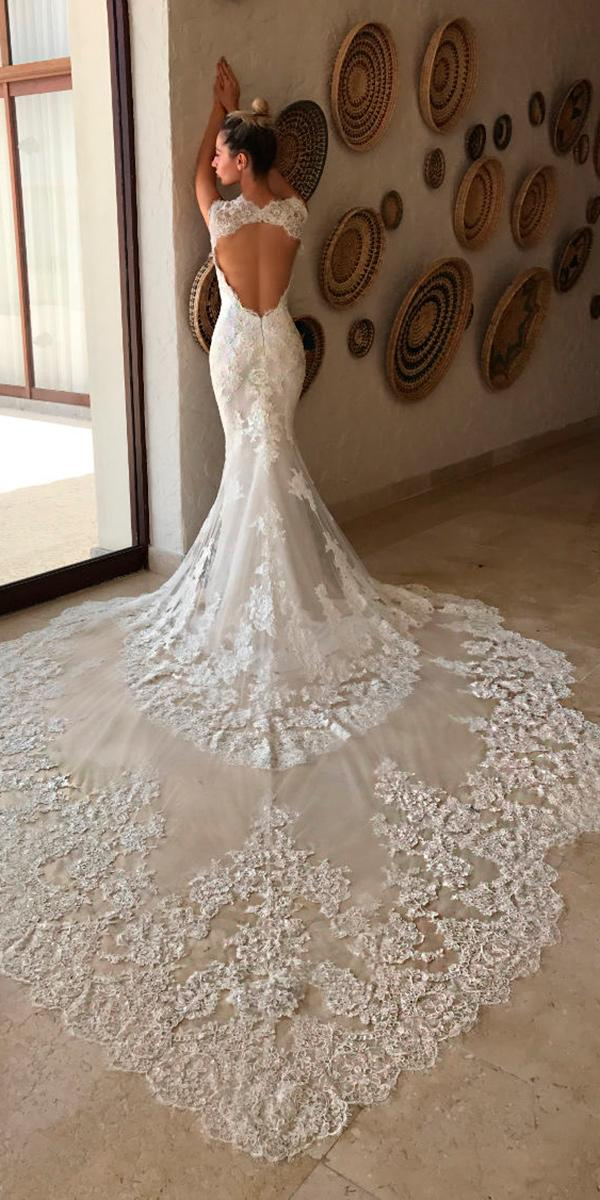 lace sheath with key hole back and train enzoani wedding dresses