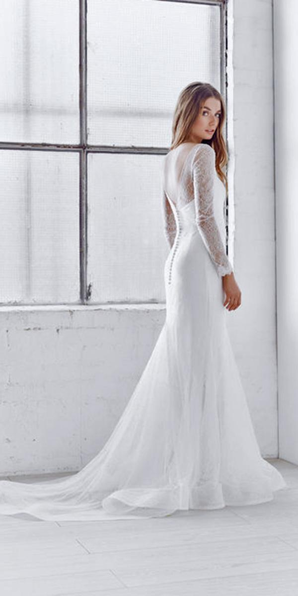 lace sheath with long sleeves and illusion back and train anna campbell wedding dresses