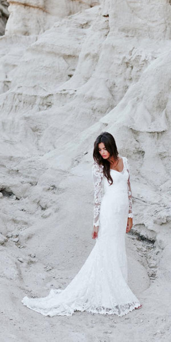 lace sheath with long sleeves and train anna campbell wedding dresses