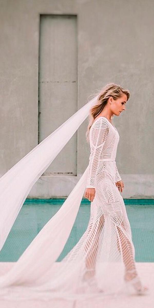 boho long sleeves wedding dresses with traine paolo sebastian
