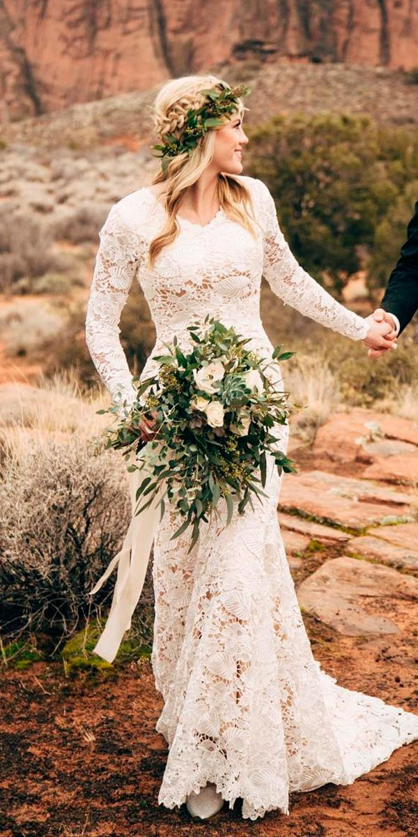 boho rustic lace long sleeve v neckline wedding dresses elizabeth cooper