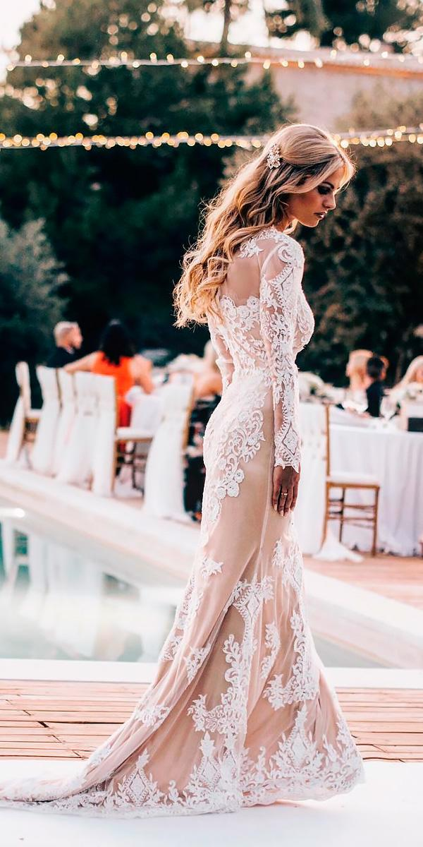 lace sheath with long sleeves country wedding dresses tali