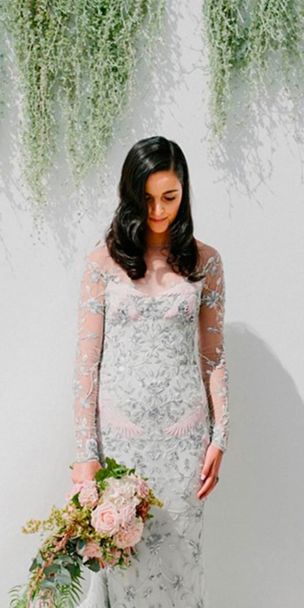 lace sheath with long tattoo effect sleeves paolo sebastian wedding dresses