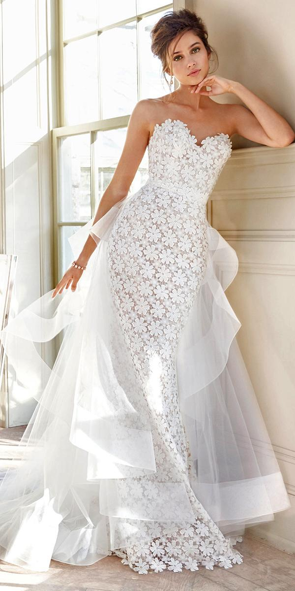 lace sheath with strapless sweetheart and detachable train tara keely wedding dresses