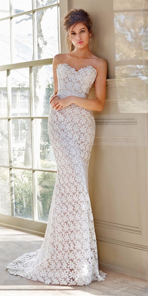 lace sheath with strapless sweetheart and train tara keely wedding dresses