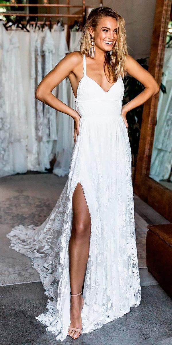 beach lace sweetheart spaghetti straps wedding dresses with slit grace loves lace