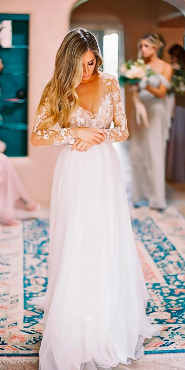 lace sweetheart with long sleeves flowy destination wedding dresses becca lea
