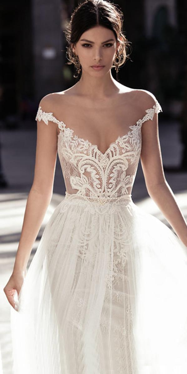 lace top a line with off shoulder straps and beading gali karten wedding dresses