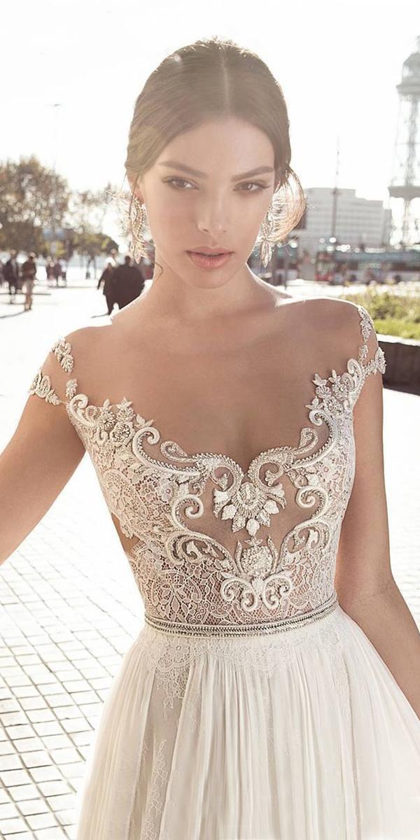 lace top a line with off shoulder straps and crystal belt gali karten wedding dresses