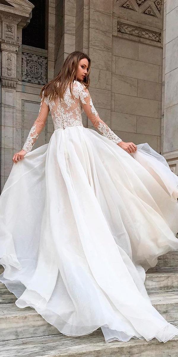 a line lace long sleeve wedding dresses monique lhuillier
