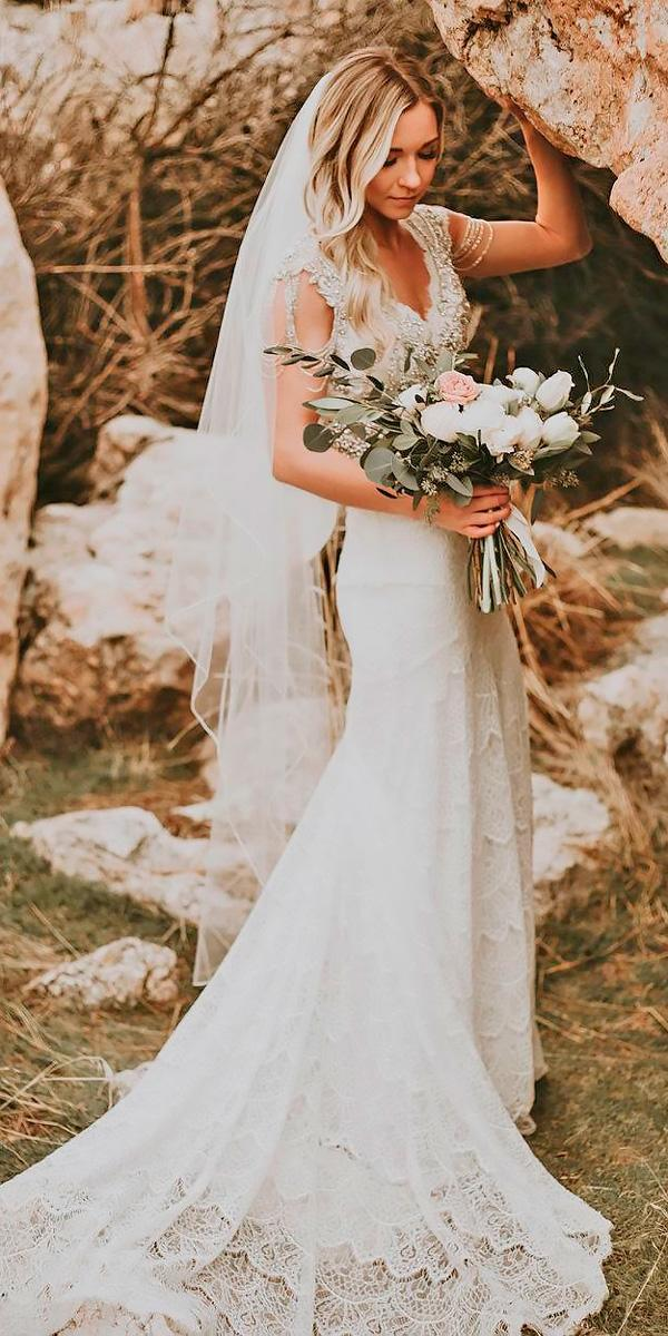 lace v neck cap sleeved country wedding dresses anna campbell